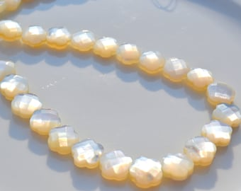 Faceted Mother of Pearl 10mm Flower Beads 6