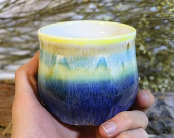 Pottery cup, pottery tumblers, Rainbow coffee cup, Gift for her/him, ceramic tumblers, hand thrown pottery, handmade tumblers, ready to ship