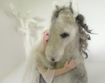 Dusk needle felt horse art cloth doll soft sculpture fairytale OOAK creation