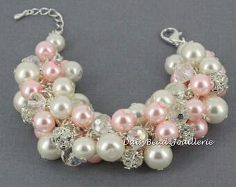 Pearl Cluster Bracelet Pink Pearl Bracelet Pink and Ivory Bracelet Chunky Bracelet Bridal Bracelet Wedding Jewelry Bracelet