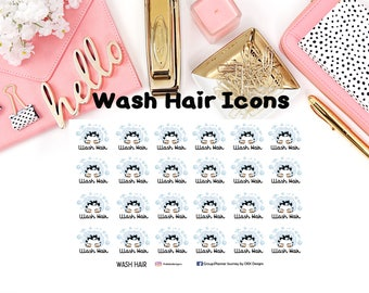 Wash Hair Icons//EC//Hp classic, large and mini//planning stickers//Bucket List