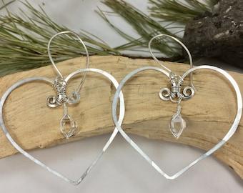 Large Herkimer Diamond Hammered HEART Earrings - NY Herkimer Diamond Jewelry - Herkimer Earrings - Herkimer Diamond - Herkimer Jewelry