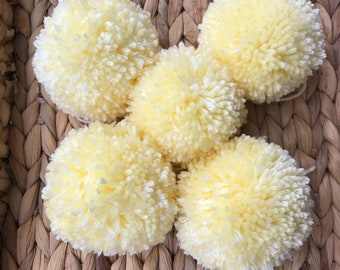 Yellow Pom Poms, Extra Large Set of 5
