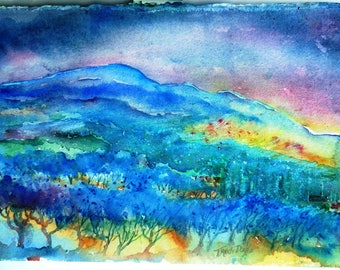 """Tuscany, Italy, Watercolor, Olive Groves  """"Night falls over a Tuscan Landscape"""" Original  painting."""