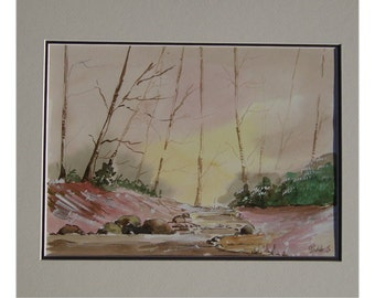 figurative painting to watercolor of a wood under snow, authentic quality