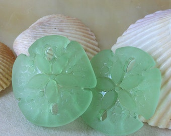 Seaglass Beads - Cultured Seaglass Sand Dollar Beads - Jewelry Making Supplies - Frosted Glass Beads - 21x19mm (4 pieces) Peridot