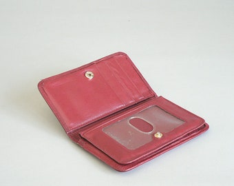 Womens Red Leather Credit Card Wallet