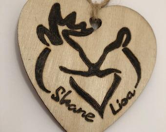 Personalized, Buck & Doe, Deer, Ornament, wood burned, Heart