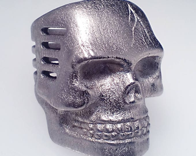 Skull Microphone Ring Nickel Steel Finish