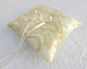 Ivory Wedding Ring Pillow. Ivory and gold ring bearer. Gold floral lace ring bearer.