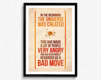 Hitchhiker's Guide to the Galaxy Quote Poster/Print -  A Bad Move Poster/Print - Douglas Adams, HHGTTG, Mostly Harmless, CtrlAltGeek