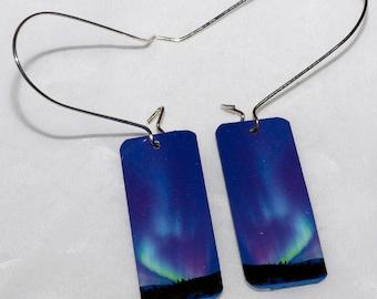 Purple turquoise northern lights earrings