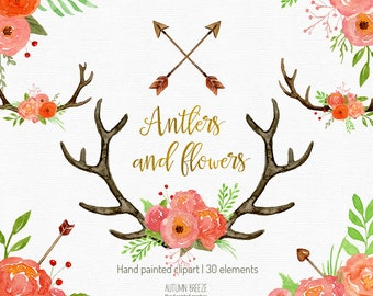 watercolor antlers and flowers clipart, wedding clipart, flower clipart, antlers bouquet, watercolor clipart, bohemian clipart, floral,