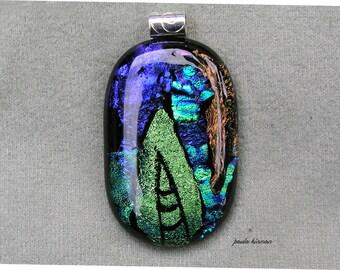 Kiln fired dichroic glass pendant #2