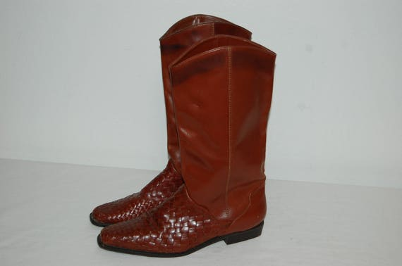 Boots Women Leather Unisa Vintage Brown leather boots Tall 10 Size Flex q6qApf