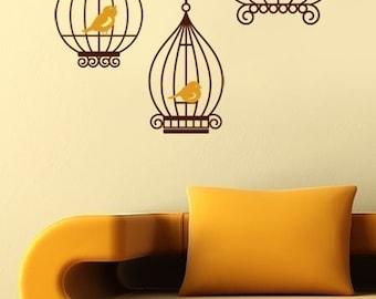 Birds in Birdcage - GIFT BIRDS - Vinyl Wall Decals
