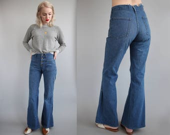 Vtg 70s Mid Rise Distressed Sailor Flare Leg Bellbottoms sz S