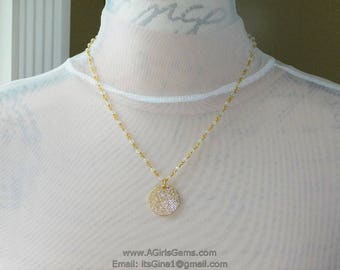 Gold Plated Disc Coin Opalize Rosary 4 mm Necklace Gold Plated Rosary Chain Necklace Regina Harp Designs