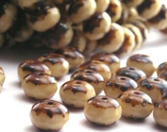Czech Glass Beads Gemstone Donuts 9x6mm Beige Picasso (25) CZF045