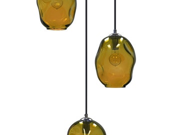 AMBER River Rock Cluster Pendant Chandelier Hand Blown Custom Lighting by Providence Art Glass and Lighting