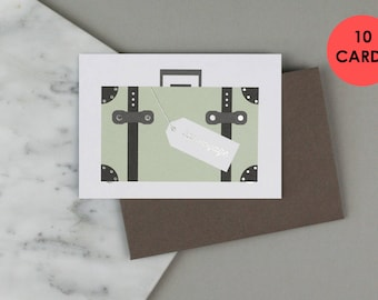 Travel Card, Moving Card, Bon Voyage Card, New Home Card. BUNDLE OF 10 CARDS.