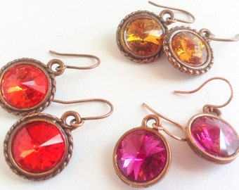 Copper French Hooks Drop Orange Red Pink Swarovski Crystal Earrings---Sparkling Jewels Earring Collection---by Lady Grey Beads