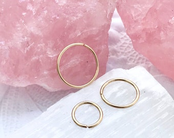 Plain gold hoop earrings, Cartilage hoop, Gold helix earring, 18g 22g 20g septum jewelry, 6mm nose ring, Snug septum 8 10 12 4 5mm 16g hoop