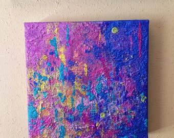 Abstract Mixed Media Painting - 8x8 - Glitter Art