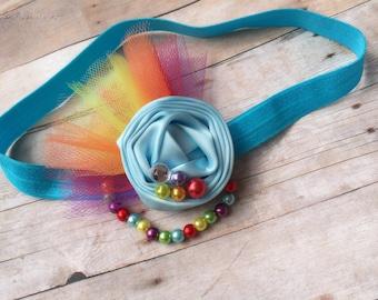 Rainbow headband. Rolled rose headband. Rainbow dash headband. Photo props