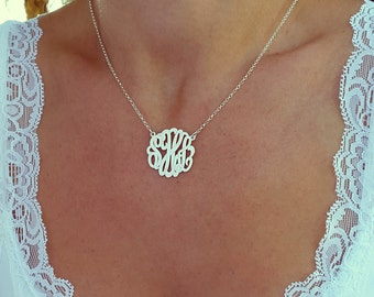 Small Monogram Necklace, 1 Inch, Sterling Silver,  Monogrammed Gifts, Personalized gift, Christmas Gift