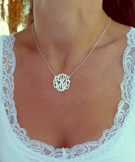 Small monogram necklace 1 inch sterling silver monogrammed aloadofball Images