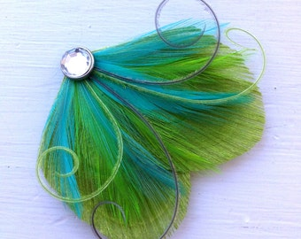 DREAM in Lime Green, Turquoise, and Gray Peacock Feather Hair Clip, Feather Fascinator