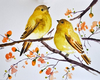 ORIGINAL Watercolor Bird Painting, Yellow Birds With Orange Flowers 6x8 Inch