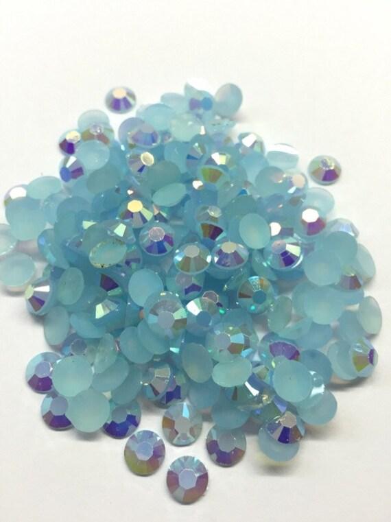 Baby Blue AB Flat Back Round Resin Rhinestones Embellishment Gems C68