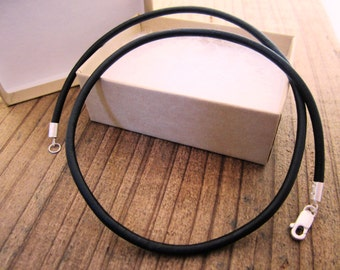 "3mm Leather Cord Necklace - Pure Sterling Silver Clasp/Catch - 16""/18""/20""/24"" inch - mens/womens - Black"