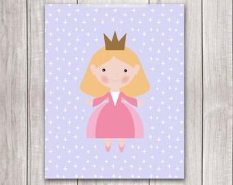 Princess Nursery Art - 8x10 Baby Girl Princess Nursery, Fairy Tale Art, Nursery Decor, Nursery Wall Art
