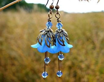 Sapphire Earrings - Flower Earrings - Blue Earrings - Floral Earrings - Boho Earrings - Bohemian Earrings - Woodland Earrings - Vintage Gift