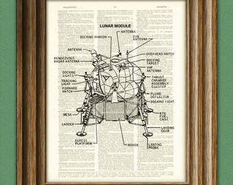 Apollo 11 Lunar Lander Module illustration beautifully upcycled dictionary page book art print