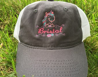 Personalized Unicorn Name hat, trucker cap, youth and adult sizes