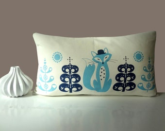 Scandinavian Fox in the woods forest blue folk Cushion Cover off white