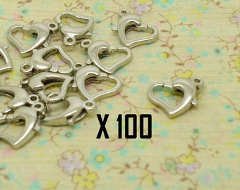 100pcs heart 12mm silver plated lobster clasp / 9mm