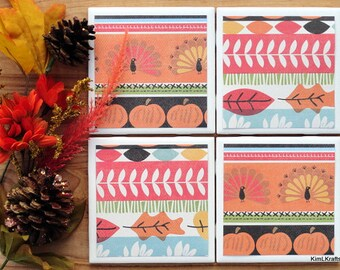 Thanksgiving Coasters, Tile Coasters, Tile Coaster, Coasters, Coaster, Drink Coasters, Table Coasters, Ceramic Coaster, Coaster Set of 4