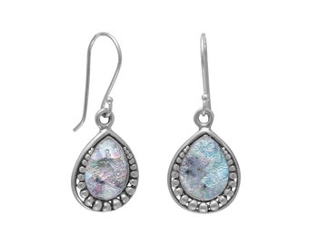 Ancient Roman Glass Sterling Silver Earrings