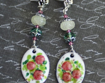 Rose Garden Cottage Chic Earrings, Artisan Pink and Green Enamel Earrings, Pink Rose Aquamarine Earrings, Swarovski Crystal Earrings, SRAJD