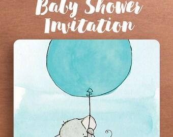 Elephant Baby Shower Invitation.