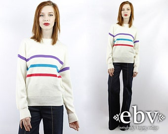Vintage 80s White Striped Sweater Vintage Knit Vintage Sweater Vintage Pullover Vintage Jumper Striped Sweater Wool Sweater