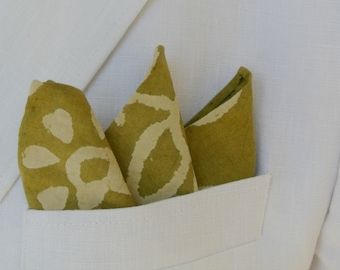 Olive Green Print Mens Cotton Pocket Square , Hand Rolled , Groomsmen , Handkerchief , Suit Accessories , Mens Gift , Pocket Accessories