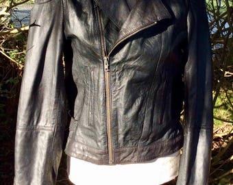 Stunning Black leather biker jacket