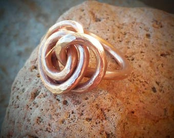 Hammered Copper Ring / Chunky Knot Copper Ring / Size 8 / Copper Swirl Ring / Chunky Hammered Copper Ring / Copper Jewelry