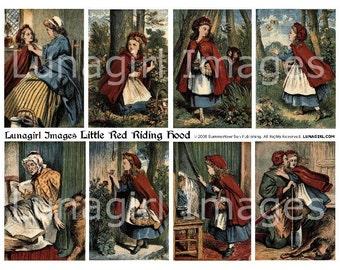 LITTLE RED Riding Hood digital collage sheet, vintage images, Victorian storybook illustrations, fairy tales fantasy girls antique DOWNLOAD